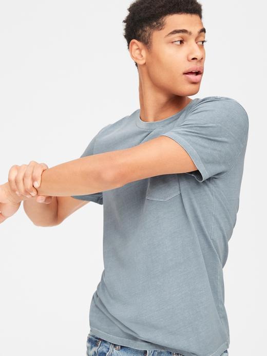 Erkek Mavi Vintage Cepli T-Shirt