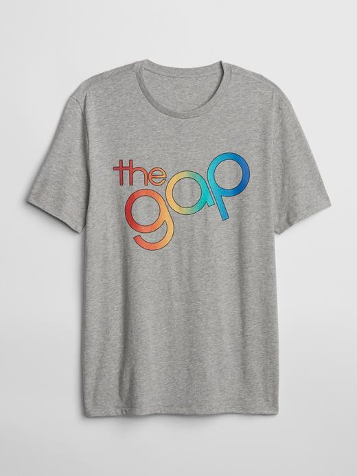 Erkek kırçıllı gri Erkek Gap Logo Sıfır Yaka T-Shirt