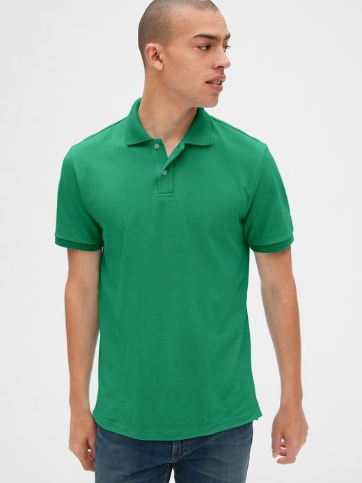 Erkek Yeşil Erkek Kısa Kollu Pique Polo Yaka T-Shirt