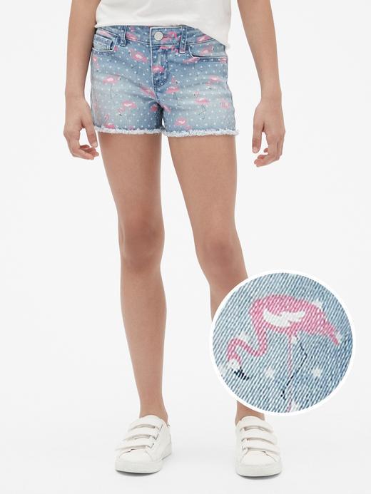 Kız Çocuk neon pembe Kız Çocuk Flamingo Desenli Şort