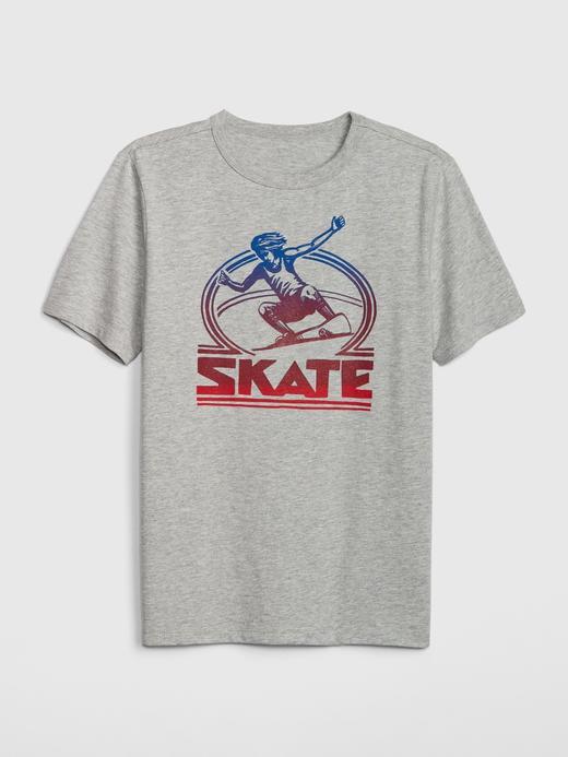 Erkek Çocuk gri Erkek Çocuk Grafik Kısa Kollu T-Shirt
