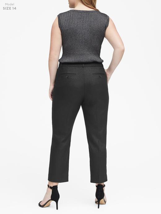 Kadın altın Avery Straight-Fit Metalik Bilekte Pantolon
