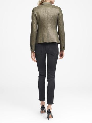 Kadın altın Classic-Fit Metalik Blazer Ceket
