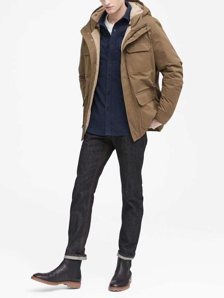 Erkek siyah Slim Flanel Gömlek Ceket