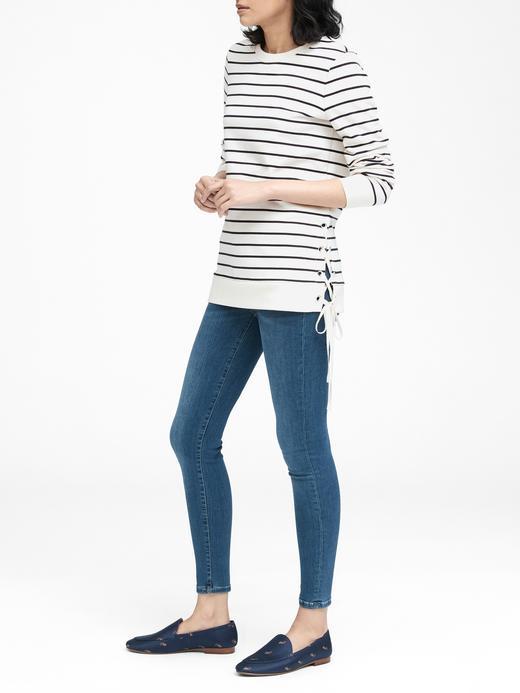 Kadın mavi çizgili Bağcıklı Sweatshirt