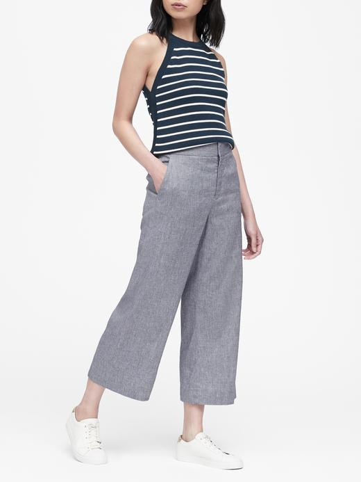 Yüksek Bel Wide-Leg Fit Cropped Pantolon