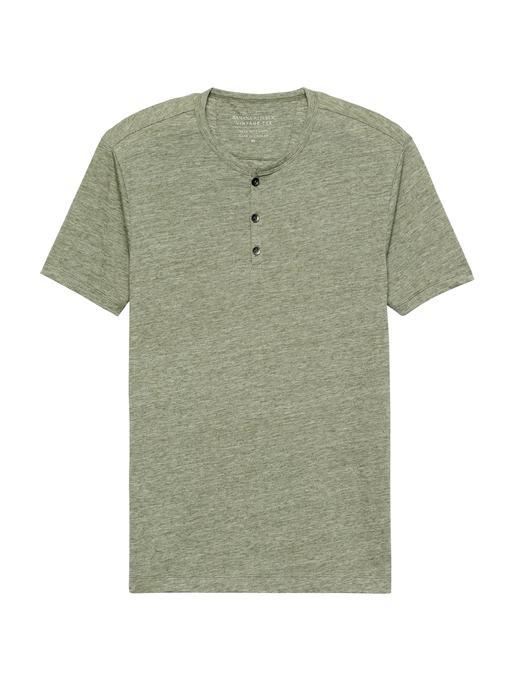 Erkek yeşil Vintage Henley T-Shirt