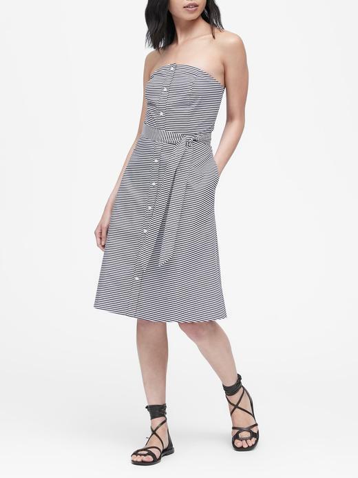 Kadın mavi çizgili Poplin Düğme Detaylı Elbise