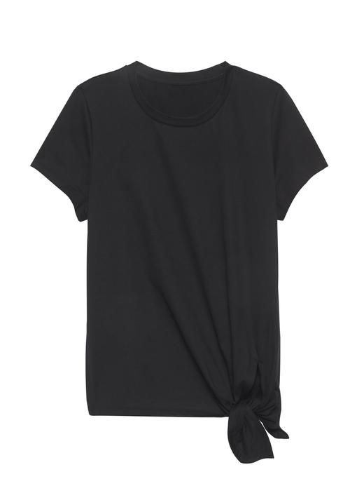 Kadın siyah SUPIMA® Pamuklu Bağlama Detaylı T-Shirt
