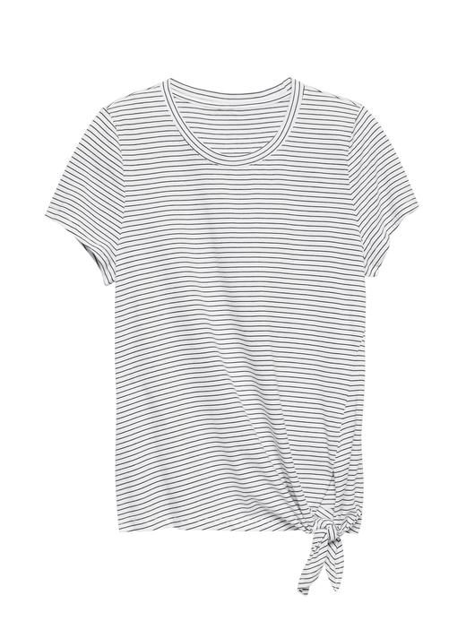 Kadın ince çizgili SUPIMA® Pamuklu Bağlama Detaylı T-Shirt