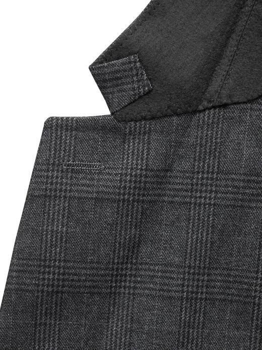 Erkek Gri Slim Fit Ekoseli Streç-Pamuklu Blazer Ceket
