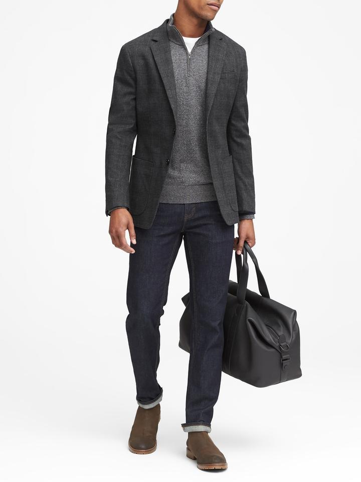 Slim Fit Ekoseli Streç-Pamuklu Blazer Ceket