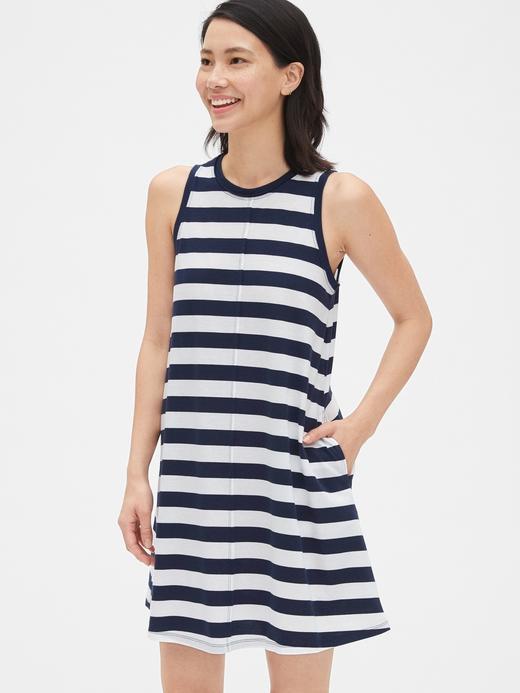 Kadın lacivert çizgili Kadın Elbise