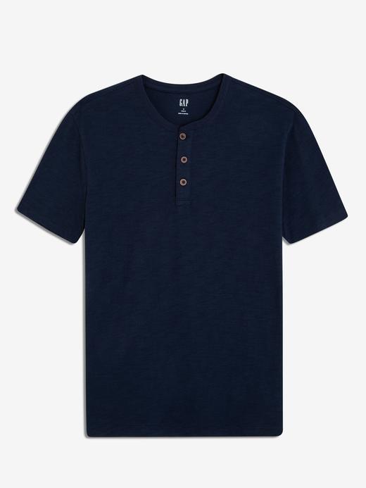 Erkek lacivert Erkek Kısa Kollu Henley T-Shirt