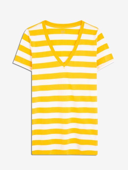 Kadın  Çizgili Vintage V Yaka T-Shirt