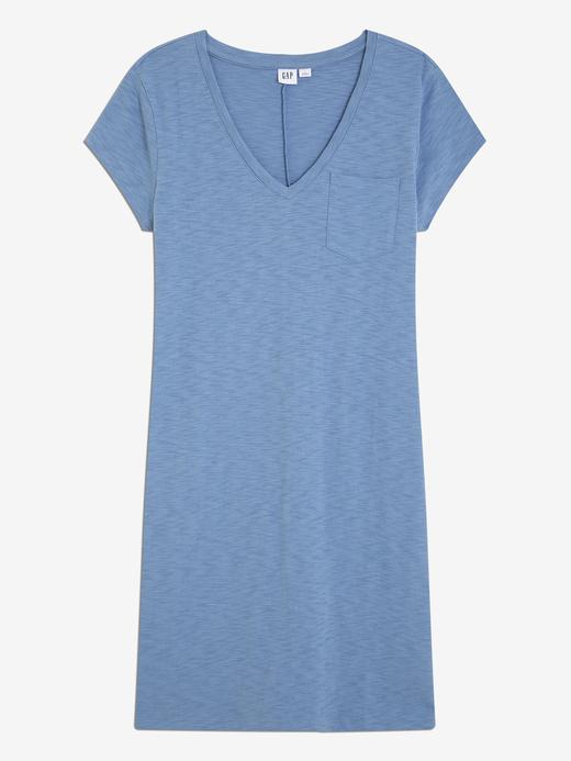 Kadın porselen mavisi V Yaka Elbise