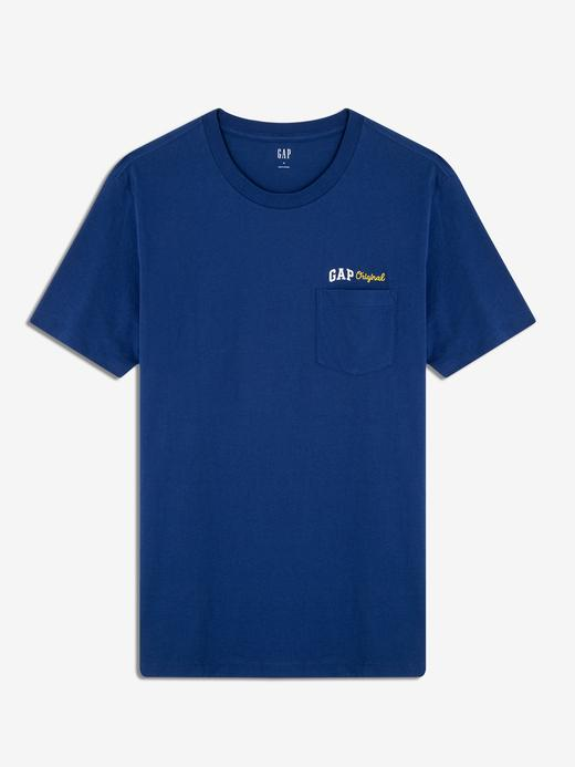 Erkek mavi kareli Gap Original Logo Cepli T-Shirt