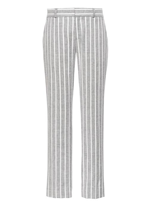 Kadın lacivert Avery-Straight Fit Keten Pantolon