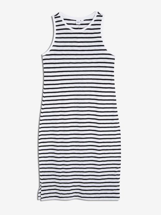 Çizgili Kolsuz T-Shirt Elbise