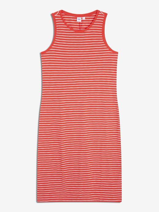Kadın kırmızı-lacivert Kadın Çizgili Kolsuz T-Shirt Elbise