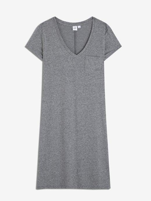 Kadın gri Kadın V-Yaka Cepli T-Shirt Elbise