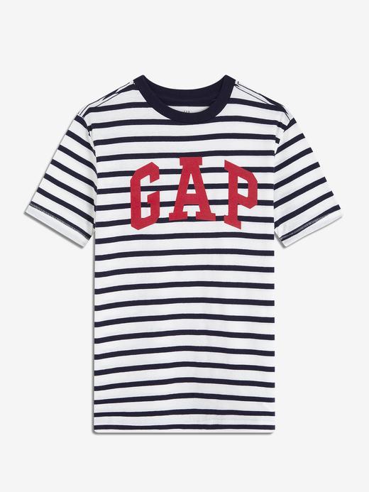 Erkek Çocuk lacivert çizgili Erkek Çocuk Çizgili Gap Logo T-Shirt