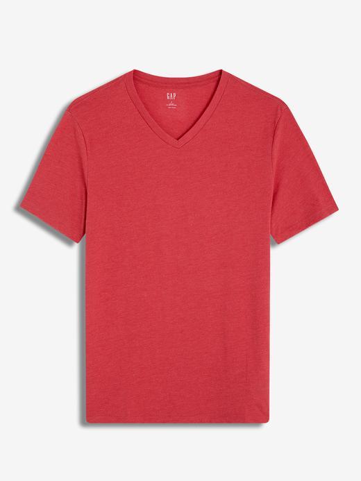 Erkek açık kırmızı Erkek V-Yaka T-Shirt