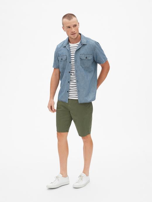 Erkek Kısa Kollu Standart Fit Denim Gömlek
