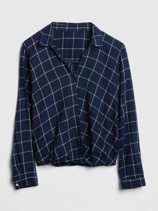 Kadın Lacivert Ekose Gömlek