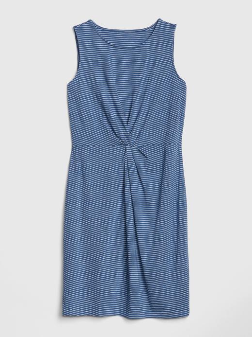 Kadın mavi çizgili Kadın Kolsuz Çizgili Mini Elbise