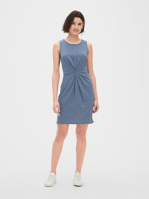 Kolsuz Çizgili Mini Elbise