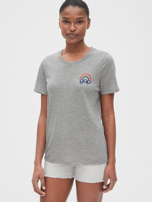 Kadın kırçıllı gri Kadın Kısa Kollu Logo T-shirt