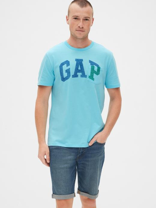 Erkek turkuaz Gap Logo Cepli T-Shirt
