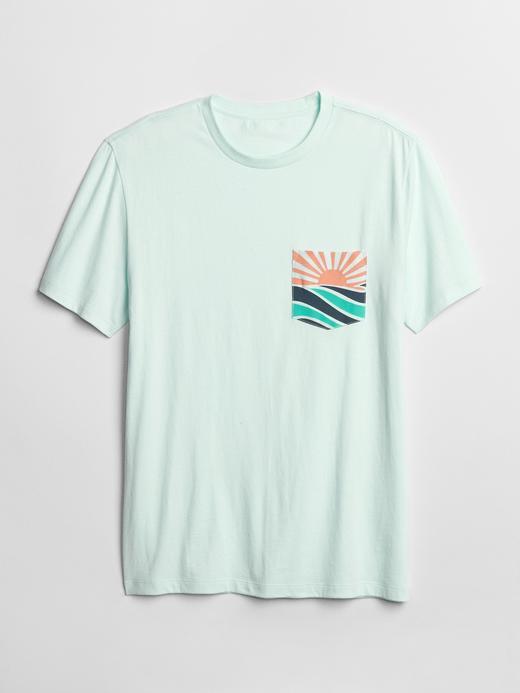 Erkek su yeşili Erkek Cepli T-shirt