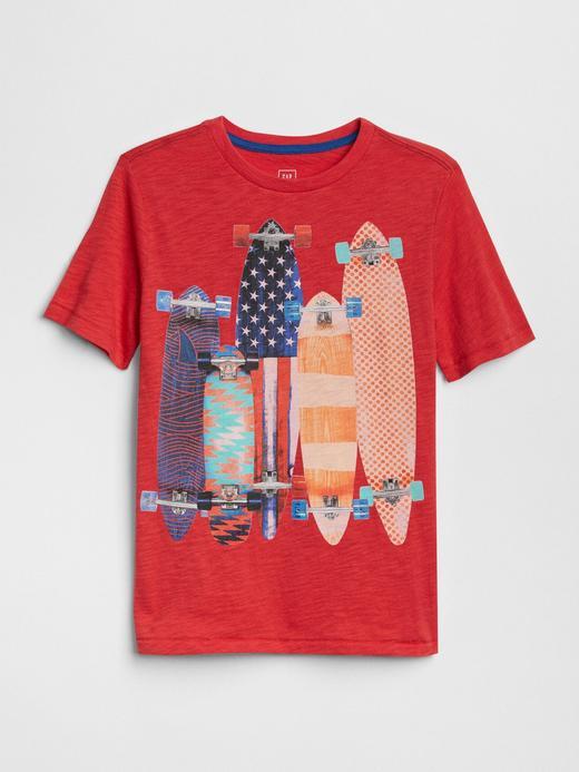 Erkek Çocuk kırmızı Erkek Çocuk Baskılı Kısa Kollu T-Shirt