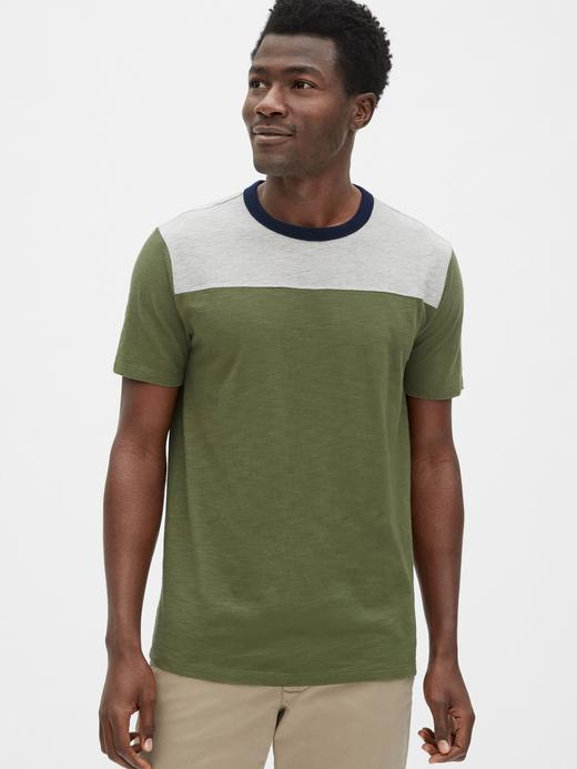 Erkek haki Vintage Kısa Kollu T-Shirt