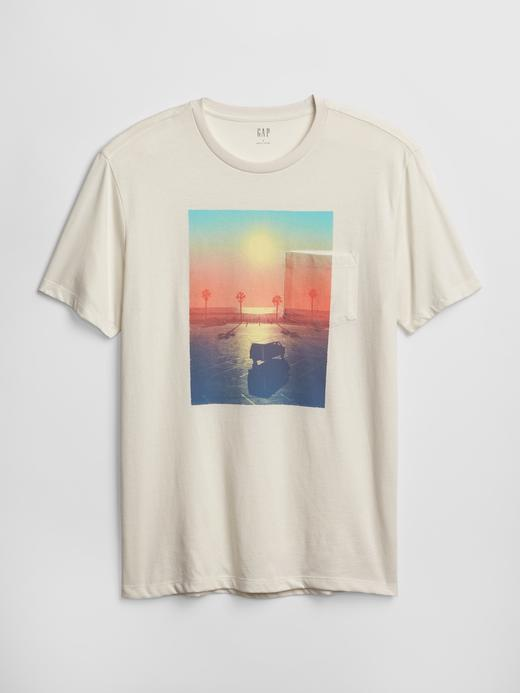Erkek kirli beyaz Erkek Grafik Sıfır Yaka Cepli T-Shirt