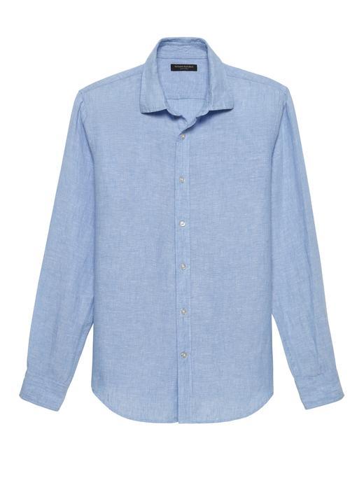 Erkek Mavi Slim-Fit Keten Gömlek