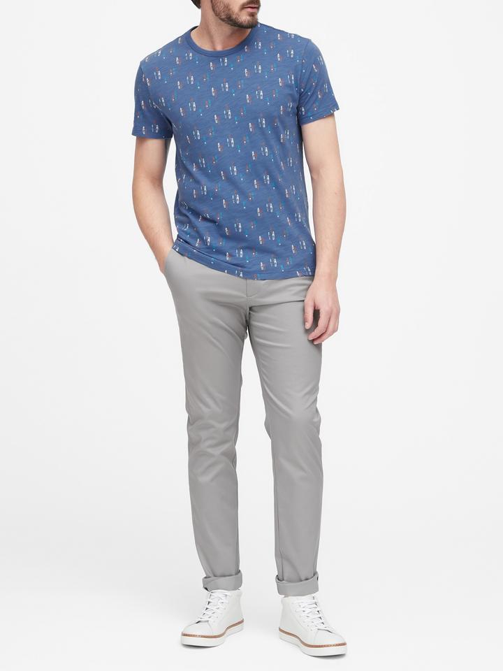 Erkek Lacivert Print T-Shirt