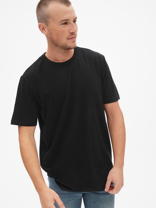 Erkek Siyah Erkek Sıfır Yaka Kısa Kollu T-Shirt