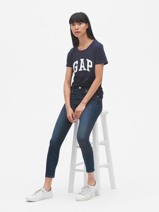 Kadın Lacivert Kadın Gap Logo Kısa Kollu T-Shirt