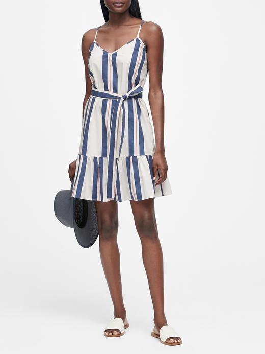 Kadın Çok Renkli Çizgili Midi Elbise