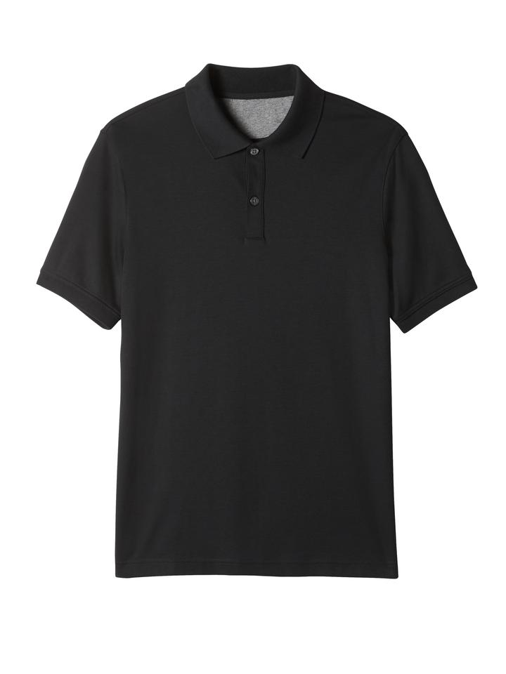 Erkek siyah Luxe-touch Polo Yaka T-Shirt