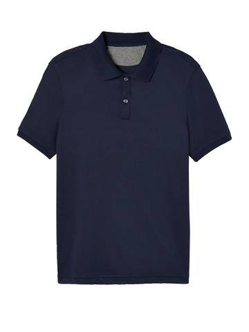 Erkek lacivert Luxe-touch Polo Yaka T-Shirt