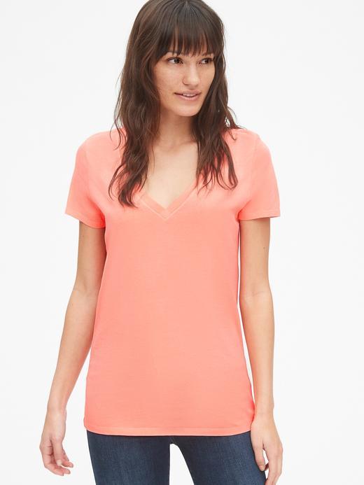 Kadın neon pembe Kadın Kısa Kollu V Yakalı Vintage T-Shirt