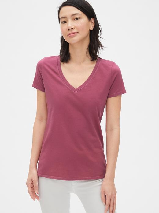 Kadın koyu pembe Kadın Kısa Kollu V Yakalı Vintage T-Shirt
