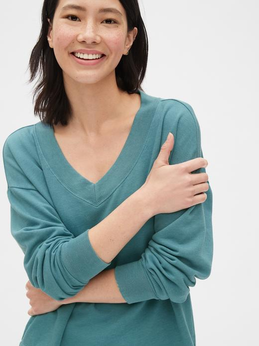 Kadın kirmizi Kadın Vintage V-Yaka Sweatshirt