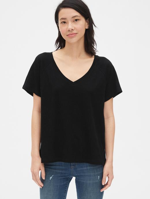 Kadın siyah Kadın V-Yaka T-shirt