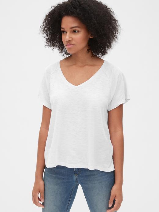 Kadın beyaz Kadın V-Yaka T-shirt