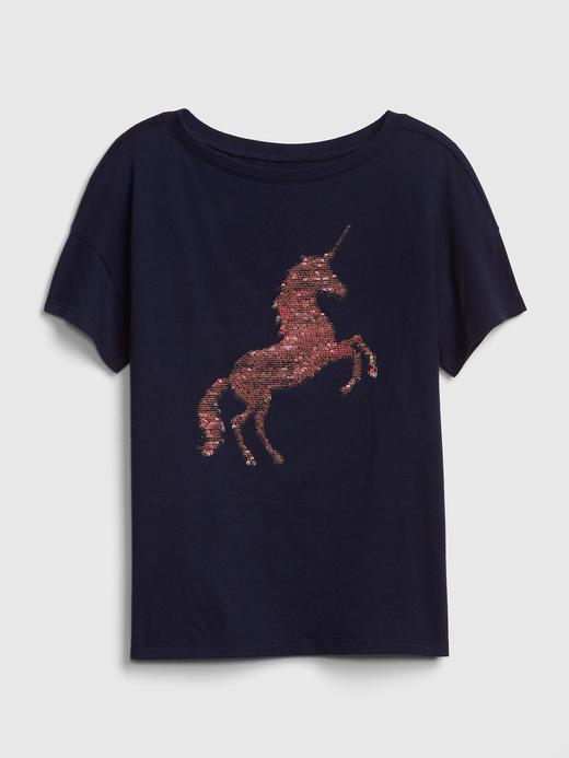 Kız Çocuk Kısa Kollu Pullu T-Shirt